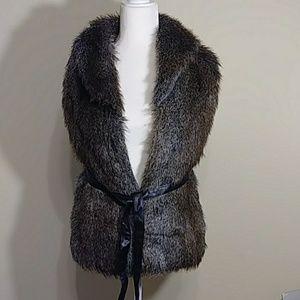 Revue Faux Fur Belted Vest - Size XS